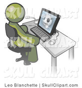 Vector Clip Art of an Olive Green Medical Doctor Man Sitting at a Computer and Viewing an Xray of a Head by Leo Blanchette