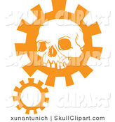 Vector Clip Art of an Orange Human Skull Head over a Gear Cog by Xunantunich