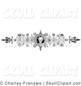 Vector Clip Art of an Ornate Black and White Skull and Flower Flourish Header, Divider, Banner or Lower Back Tattoo Design by C Charley-Franzwa