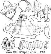 Vector Clip Art of an Outline Design of Aztec and Mexican Items by Visekart