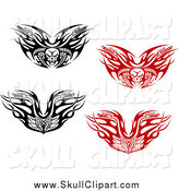 Vector Clip Art of Black and White and Red Tribal Flaming Skull Motorcycle Handlebars by Vector Tradition SM
