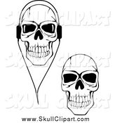 Vector Clip Art of Black and White Cracked Skulls Wearing Headphones by Vector Tradition SM