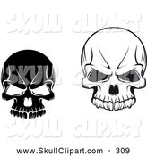 Vector Clip Art of Black and White Evil Skulls on White by Vector Tradition SM