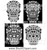 Vector Clip Art of Black and White Floral Day of the Dead Skulls by Lineartestpilot