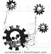 Vector Clip Art of Black and White Skull Gear Flowers on a Creepy Plant by Xunantunich