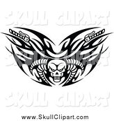 Vector Clip Art of Black and White Tribal Flaming Skull Motorcycle Biker Handlebars with Horns by Vector Tradition SM