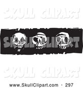 Vector Clip Art of Black and White Woodcut Styled Skull Designs by Xunantunich