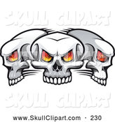 Vector Clip Art of Fiery Eyed Skulls on White by Vector Tradition SM