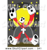 Vector Clip Art of Five White Skull Ghosts Emerging from a Tombstone by Mayawizard101