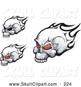 Vector Clip Art of Flaming Skulls with Black Eye Sockets over White by Vector Tradition SM