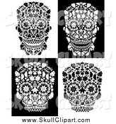 Vector Clip Art of Flowered Day of the Dead Skulls in Black and White by Lineartestpilot