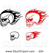 Vector Clip Art of Flying Red and Black Skulls Digital Collage by Vector Tradition SM