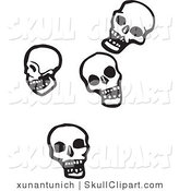 Vector Clip Art of Four Falling Human Skulls on a White Background by Xunantunich