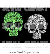 Vector Clip Art of Green and White Floral Skulls over Black by Vector Tradition SM