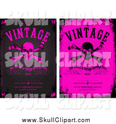 Vector Clip Art of Grungy Black and Pink Skull and Crossbones Backgrounds with Sample Text by BestVector