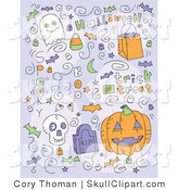 Vector Clip Art of Halloween Doodle Icons on Purple by Cory Thoman