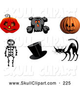 Vector Clip Art of Halloween Icons of Jack O Lantern Pumpkins, Scaredy Cat, Top Hat, and Skeleton by Vector Tradition SM