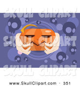 Vector Clip Art of Hands Holding an Orange Jackolantern on Purple with Skulls by Mayawizard101