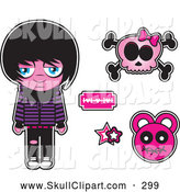 Vector Clip Art of Pink Sad Emo Kid with a Skull and Design Elements by Vitmary Rodriguez