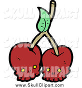 Vector Clip Art of Red Skull Cherries on a Stem by Lineartestpilot