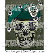 Vector Clip Art of Scratches, Scuffs and Bullet Holes on a Metallic Surface with a Skull and Beret Military Motif by AtStockIllustration