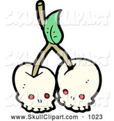 Vector Clip Art of Skull Cherries by Lineartestpilot