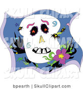 Vector Clip Art of Spiders Crawling All over a Cartoon Skull Resting by a Flower by