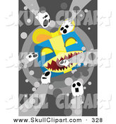 Vector Clip Art of Spooky Halloween Ghosts and a Big Evil Present by Mayawizard101