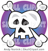 Vector Clip Art of the Jolly Roger Skull and Crossbones over a Purple Circle by Andy Nortnik