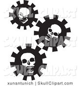 Vector Clip Art of Three Black and White Skull Gears on White by Xunantunich