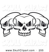 Vector Clip Art of Three Black and White Skulls Lined up by Vector Tradition SM
