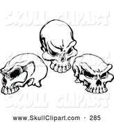 Vector Clip Art of Three Black and White Skulls - Tattoo Designs by Chromaco