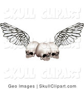 Vector Clip Art of Three Human Skulls with Outspread Wings by AtStockIllustration