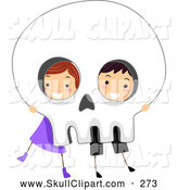 Vector Clip Art of Two Children Hiding Behind a Big Halloween Skull Poster by BNP Design Studio