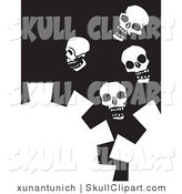 Vector Clip Art of White Cogs and Four Skulls on a Black Background by Xunantunich