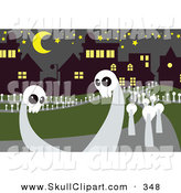 Vector Clip Art of White Skull Ghosts in a Cemetery by Mayawizard101