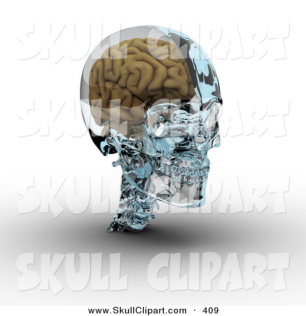 Clip Art of a 3d Brain in a Glass Skull on White