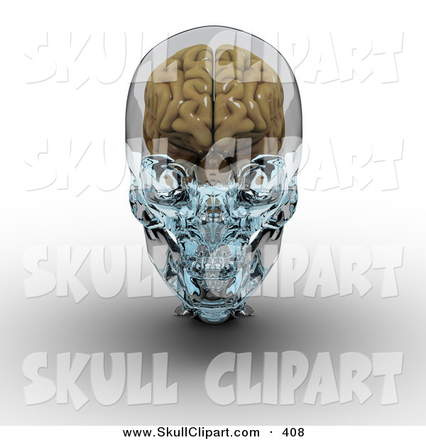 Clip Art of a 3d Brain in a Glass Skull over White