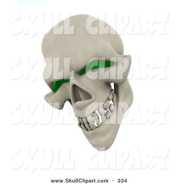 Clip Art of a 3d Evil Green Eyed Skull Grinning and Looking down