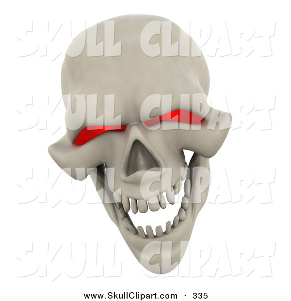 Clip Art of a 3d Evil Red Eyed Skull Grinning and Laughing