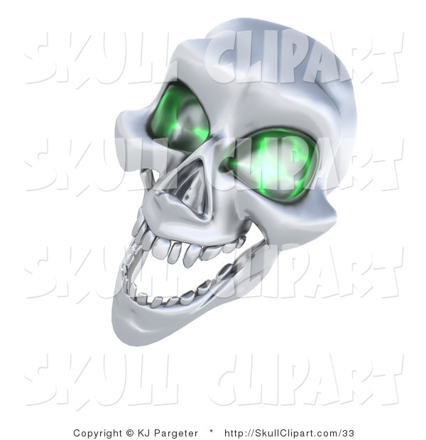 Clip Art of a 3d Evil Silver Human Skeleton Head with Glowing Green Eye Sockets