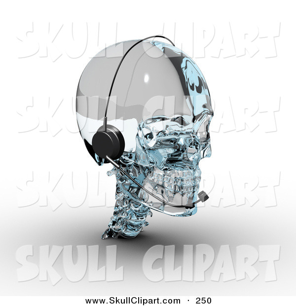 Clip Art of a 3d Glass Skull Wearing a Headset on White