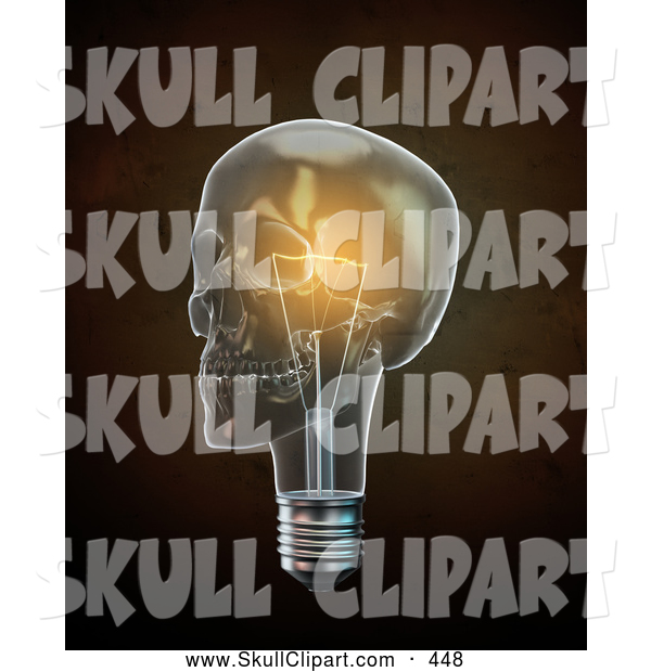 Clip Art of a 3d Glowing Lightbulb Skull over Brown