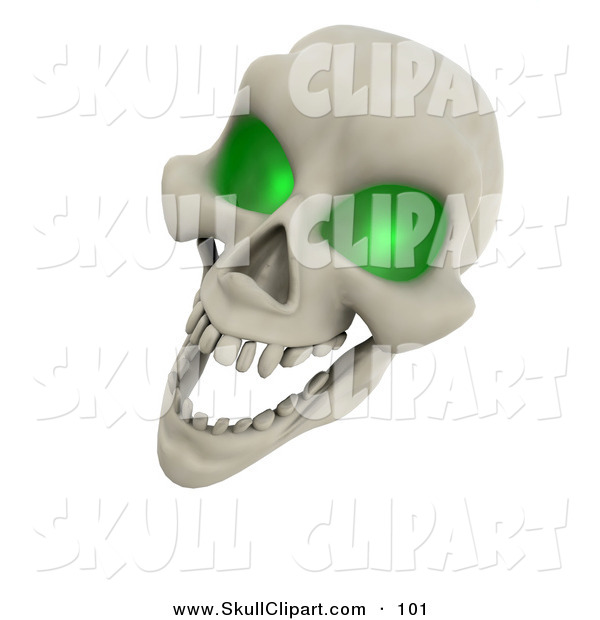 Clip Art of a 3d Laughing Green Eyed Skull on White