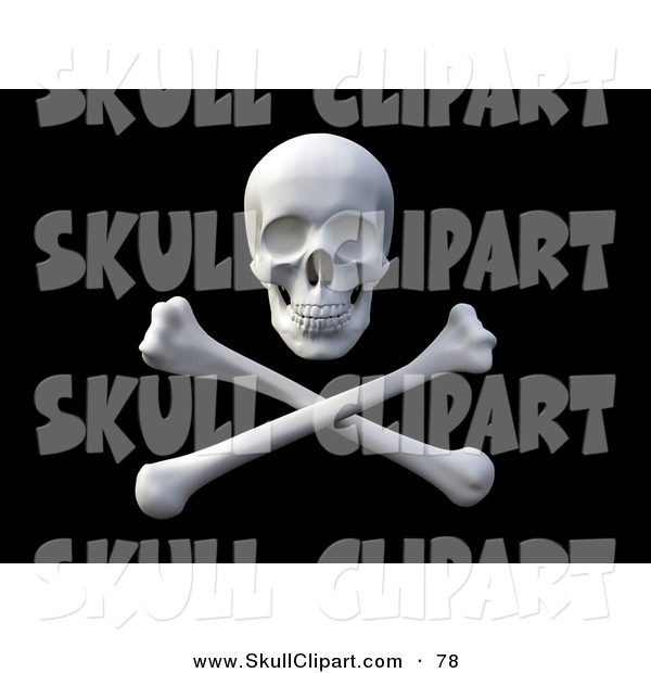 Clip Art of a 3d Pirate Skull over Crossbones on a Black Background