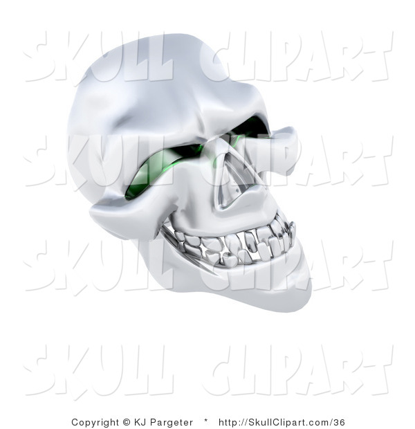 Clip Art of a 3d Silver Human Skeleton Head with Squinty Green Eye Sockets on White