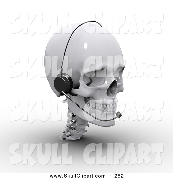 Clip Art of a 3d White Skull Wearing a Headset and Looking Right