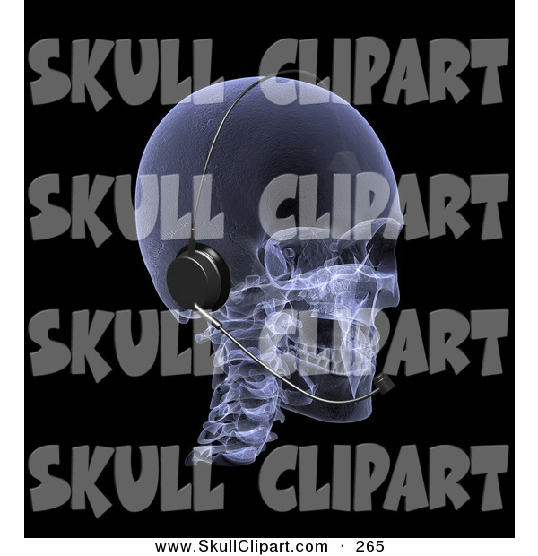 Clip Art of a 3d Xray Skull Wearing a Headset and Looking Right