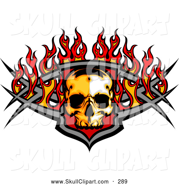Clip Art of a Fiery Skull and Metal Bars with Flames, on White