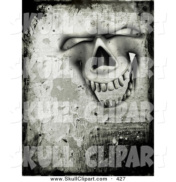 Clip Art of a Grungy Creepy Happy and Laughing Skull Face with Cement Texture